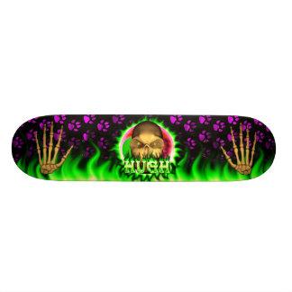 Howard skull green fire Skatersollie skateboard