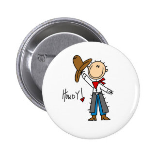 Howdy! Cowboy Stick Figure Button