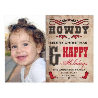 Howdy Cowboy Western Xmas Phostcard Post Cards