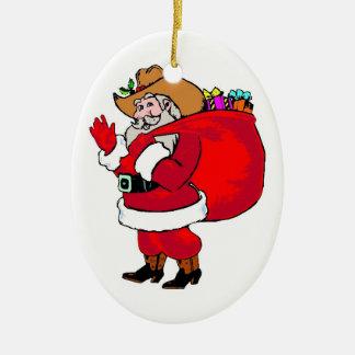 Howdy Santa - Oval Ornament