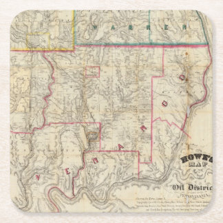 Howe's Map of The Oil District of Pennsylvania Square Paper Coaster