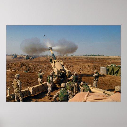 Howitzer Gun Crew United States Marine Corps Poster