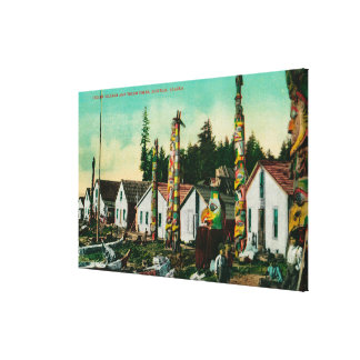 Howkan, Alaska Indian Village and Totems Canvas Print