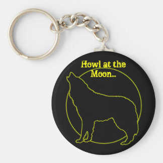 Howl at the moon basic round button key ring