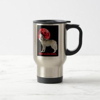Howl at the red moon travel mug