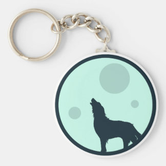 Howl to the Moon Basic Round Button Key Ring