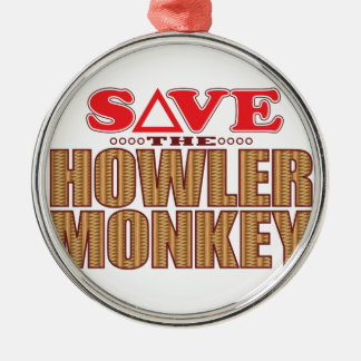 Howler Monkey Save Silver-Colored Round Decoration
