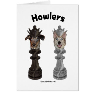 Howlers Chess Dogs Note Card