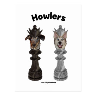 Howlers Chess Dogs Postcard