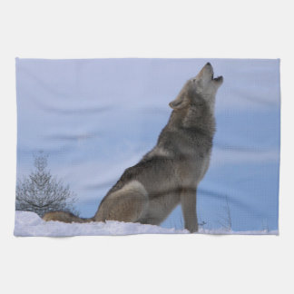 Howling Alaskan Timber Wolf Tea Towel
