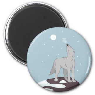 Howling Arctic Wolf 6 Cm Round Magnet