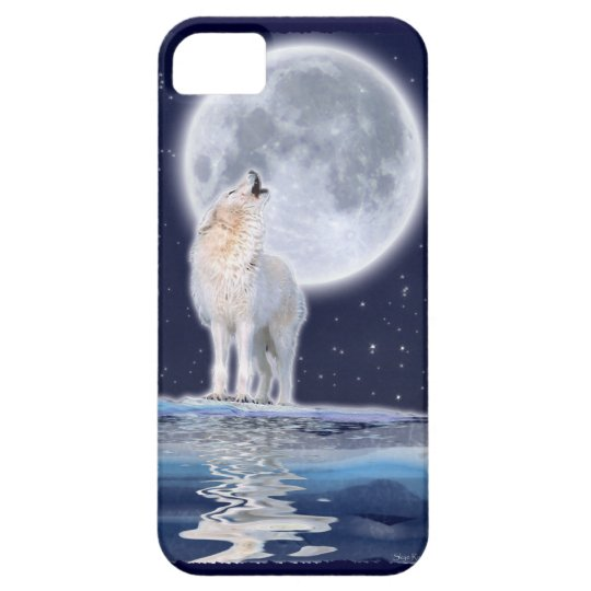 Howling Arctic Wolf & Full Moon iPhone 5 Case