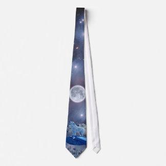 Howling Arctic Wolf, Moon & Stars Necktie