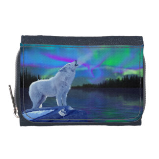 Howling Arctic Wolf & Northern Lights Wildlife Art Wallets