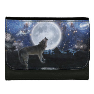 Howling Arctic Wolf & Starry Sky Wildlife Art Wallets