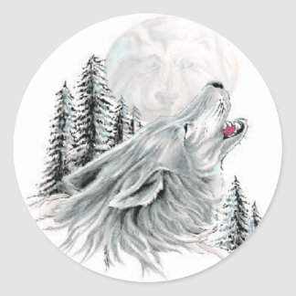 Howling at the Face in the Moon Round Sticker
