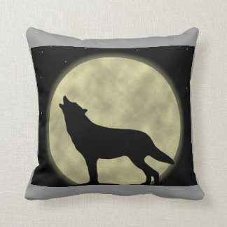 Howling at the Moon Wolf Throw Pillow