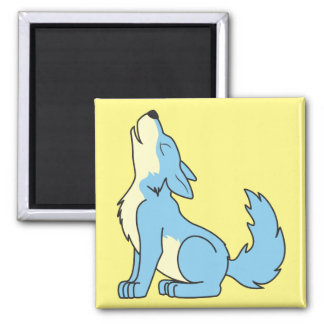 Howling Baby Blue Wolf Square Magnet