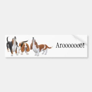 Howling Basset Hounds Bumper Sticker