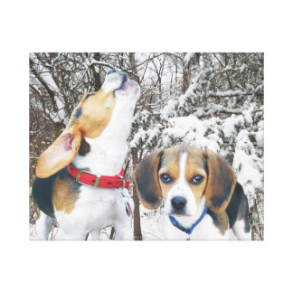 Howling Beagle and Pup Snowy Woods Canvas Print