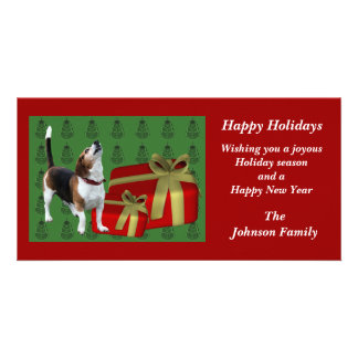 Howling Beagle Animal Christmas Holiday Card Custom Photo Card