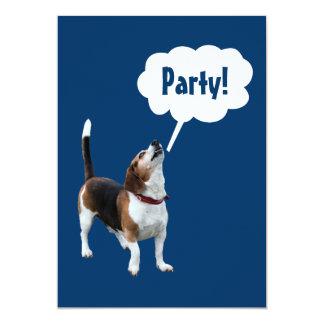 Howling Beagle Cute Animal Invitation