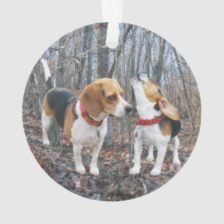 Howling Beagle in Woods Christmas Ornament