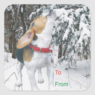 Howling Beagle Snowy Christmas Gift Tag Stickers