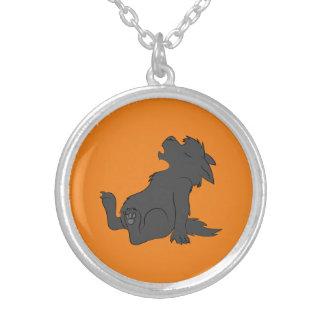 Howling Black Werewolf Pup Round Pendant Necklace