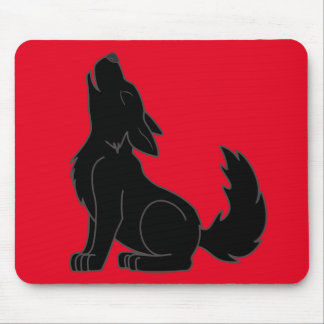 Howling Black Wolf Mouse Pad