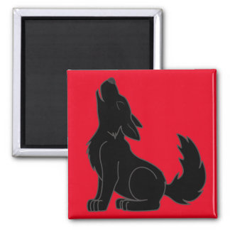 Howling Black Wolf Square Magnet