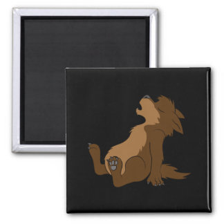Howling Brown Werewolf Pup Square Magnet