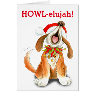 Howling carol singing dog howl-elujah Christmas Card