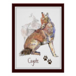 Howling Coyote Animal Nature Poster