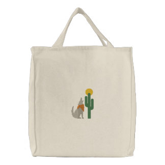 Howling Coyote Embroidered Tote Bags