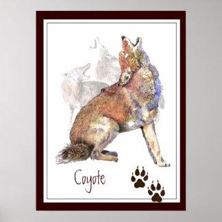 Howling Coyote Original Watercolor Animal Poster