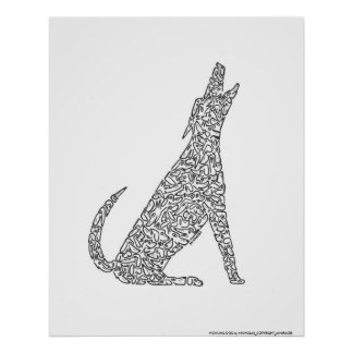 HOWLING DOG by NICHOLAS_COPYRIGHT_... Posters