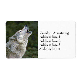 Howling gray wolf photo custom address labels