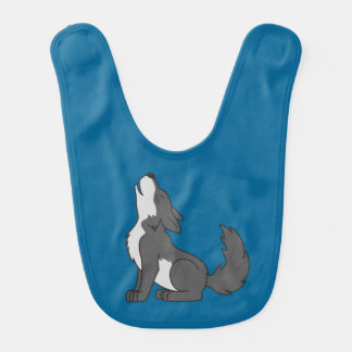 Howling Gray Wolf with Natural Markings Bib