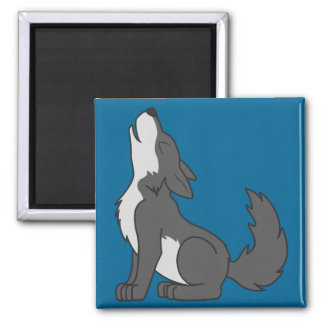 Howling Gray Wolf with Natural Markings Square Magnet