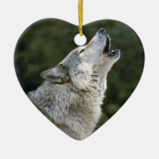 Howling grey wolf beautiful photo portrait, gift christmas ornament