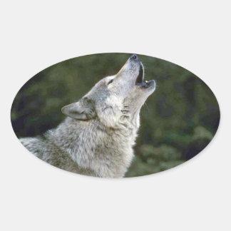 Howling grey wolf beautiful photo portrait, gift oval sticker