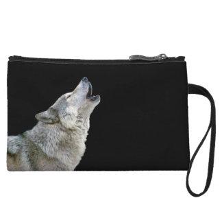 Howling grey wolf beautiful photo portrait, gift wristlet clutch