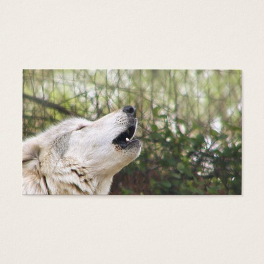 Howling grey wolf business card