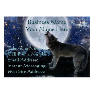 Howling Grey Wolf Moon Profile Business Cards