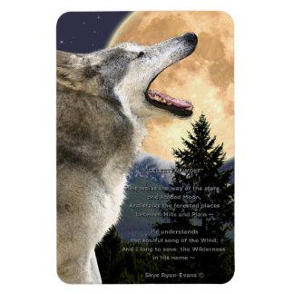 Howling Grey Wolf & Poem Wildlife Art Magnet