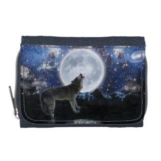 Howling Grey Wolf & Starry Sky Wildlife Art Wallet