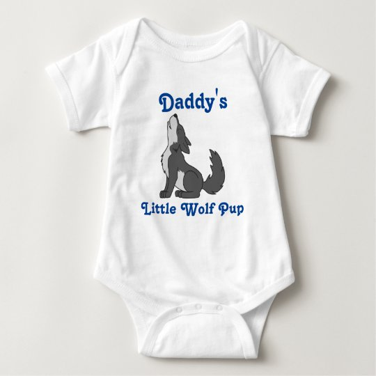 Howling Grey Wolf with Blue Text Baby Bodysuit