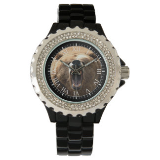 Howling Grizzly Bear Wrist Watches