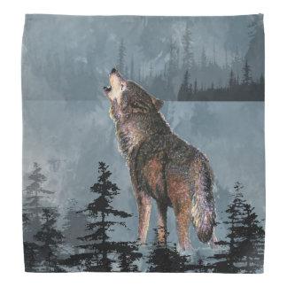 Howling Lonely Wolf Animal Art Bandanas